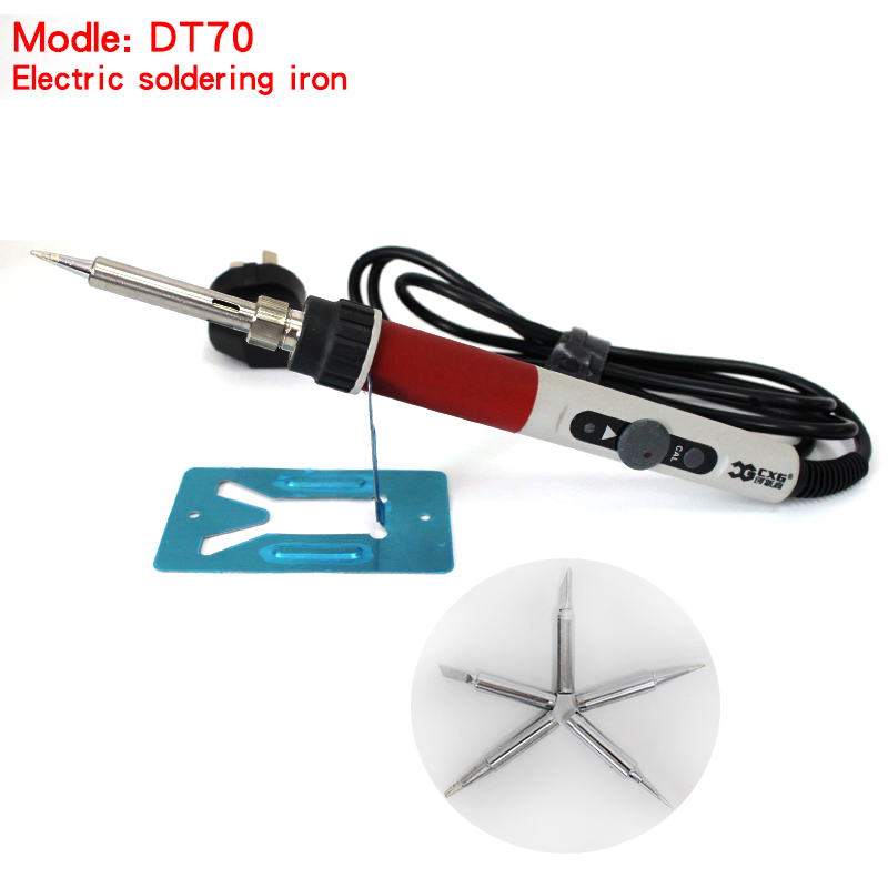 High quality 220V 70W soldering iron CXG DT70 temperature Adjustable Internal heating Replace hakko Soldering Station+5pcs Tips