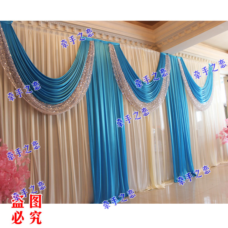 3M*6M Royal Blue Swags Hot Sale White Wedding Backdrop Stage Curtains(China  (