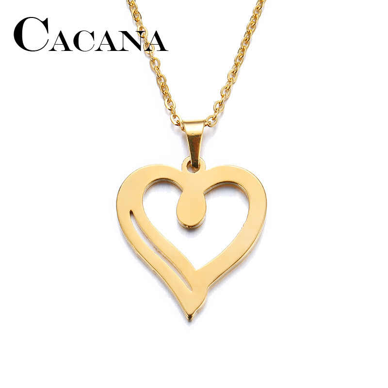 CACANA Stainless Steel Necklace For Women Man Lover's Heart Gold And Silver Color Pendant Necklace Engagement Jewelry