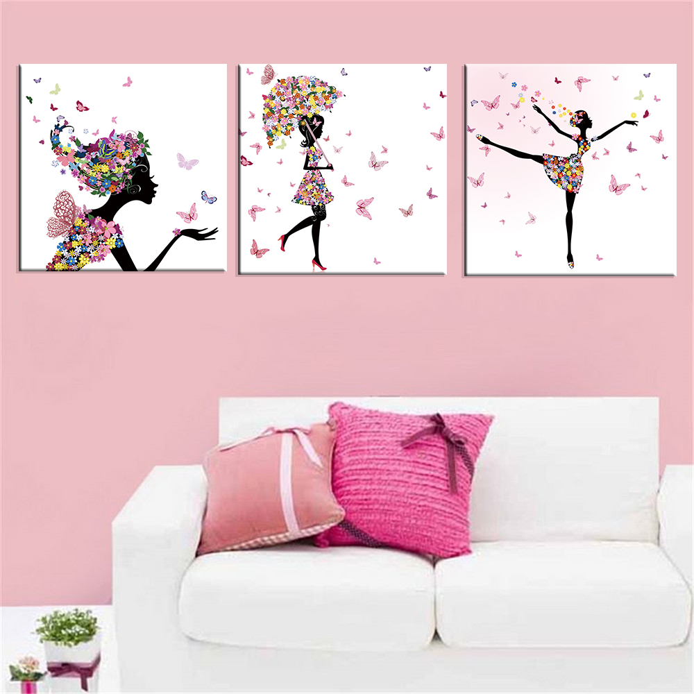 Dancing girl oil painting butterfly wall poster canvas art for Where to get home decor