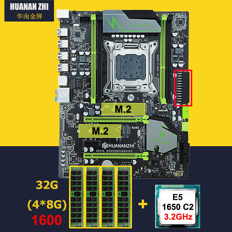 Discount Motherboard With Dual M.2 Slot HUANAN ZHI X79 Pro Motherboard With CPU Intel Xeon E5 1650 3.2GHz RAM 32G(4*8G) REG ECC