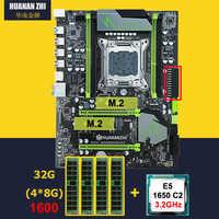 Discount motherboard with dual M.2 slot HUANAN ZHI X79 pro motherboard with CPU Intel Xeon E5 1650 3.2GHz RAM 32G(4*8G) REG ECC