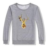 2017 3D Print Harajuku Candy Color Sweatshirt Flower Deer Hoodies Women 65 Cotton Sweet Kawaii Pullovers