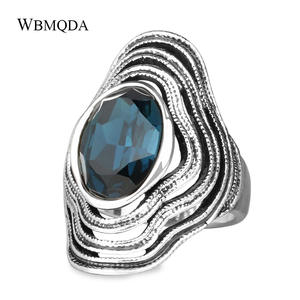 Vintage Blue Purple Glass Ring Silver Big Wave Rings For Women Tibetan Jewelry Trending