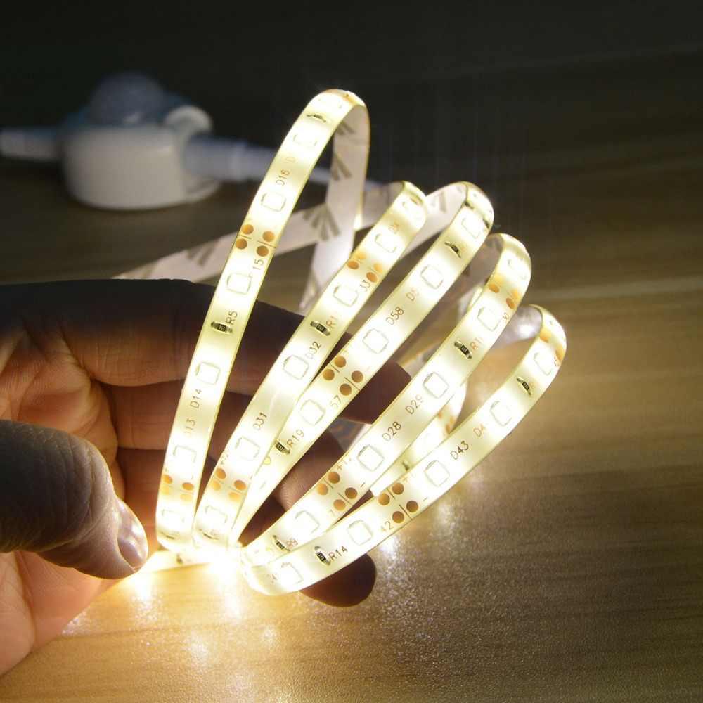 Tira LED 12V armario de cocina luces Sensor de movimiento tira de luz 2A adaptador de fuente de alimentación cinta de diodo de luz LED lámpara de iluminación