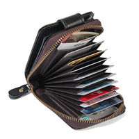 Genuine Leather Unisex Card Holder RFID Wallet For Credit Card ID Card Small Coin Purse Photo Holder Women And Men PR078192