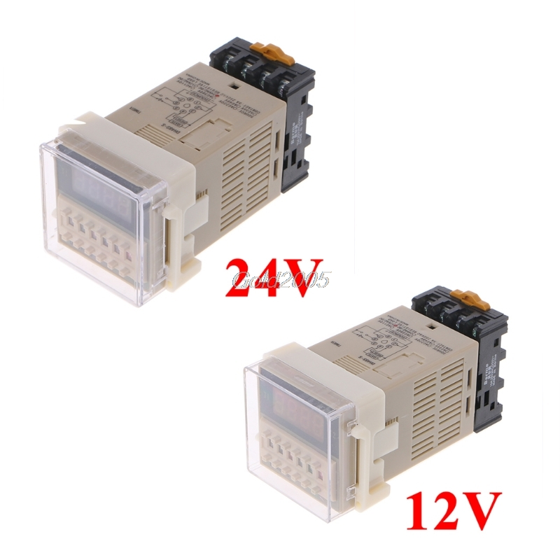 цена на AC/DC 12/24V Multifunction Digital Timer Relay On Delay 8 Pins SPDT DH48S-S Repeat Cycle G07 Drop ship