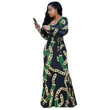 Africa Clothing Trendy Gold Chain Printed Long Sleeve Belted Maxi Dress Women Autumn Bodycon Robe Long Party Plus Size S XXXL