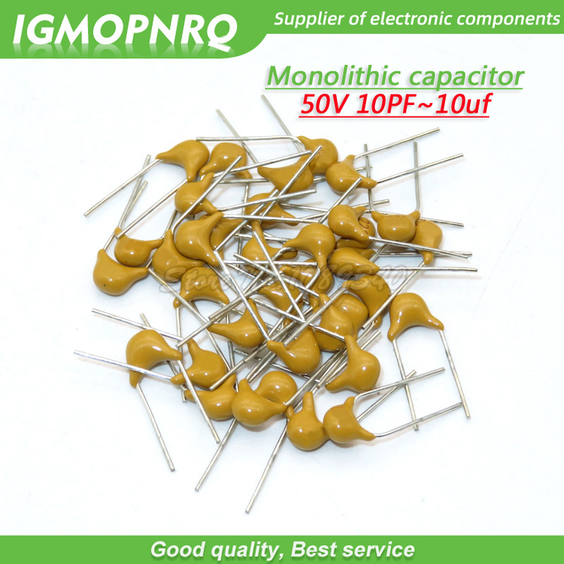 100Pcs 50V Monolithic Ceramic Capacitor 10PF ~ 10UF 22PF 47NF 220NF 1NF 4.7UF 1UF 100NF 330NF 0.1UF 10UF 102 104 105 106 103 331