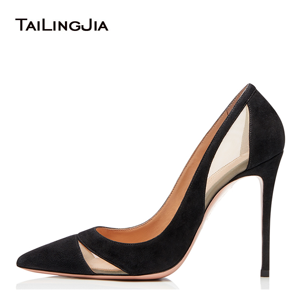Latest Pointed Toe High Heel Mesh Pumps Womens Heeled Court Shoes Black Stiletto Red Heels Ladies Dress Shoes Large Size 2019 in Women 39 s Pumps from Shoes