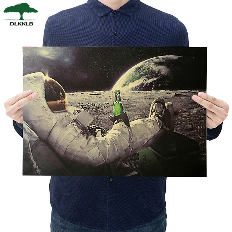Dlkklb Classic Outer Space Earth Astronauts Drink Relaxing Moon Landing Fantasy Kraft Paper Poster Home Decor Wall Sticker