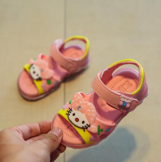 New Children Sandals KT Boys Girls Sport Sandal Led Slip-resistant Children Beach Sandals With Light Size 22-31