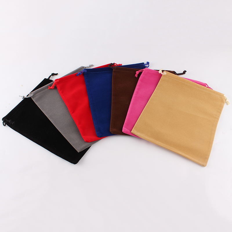 50pcs/lot 18*23cm Custom Logo Printed Drawstring Bags Velvet Pouch Packing Bags Shoes Bags