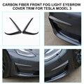 Для Tesla модель 3 2018-2020 углеродное волокно стиль передний противотуманный светильник крышка для бровей отделка 2 шт.