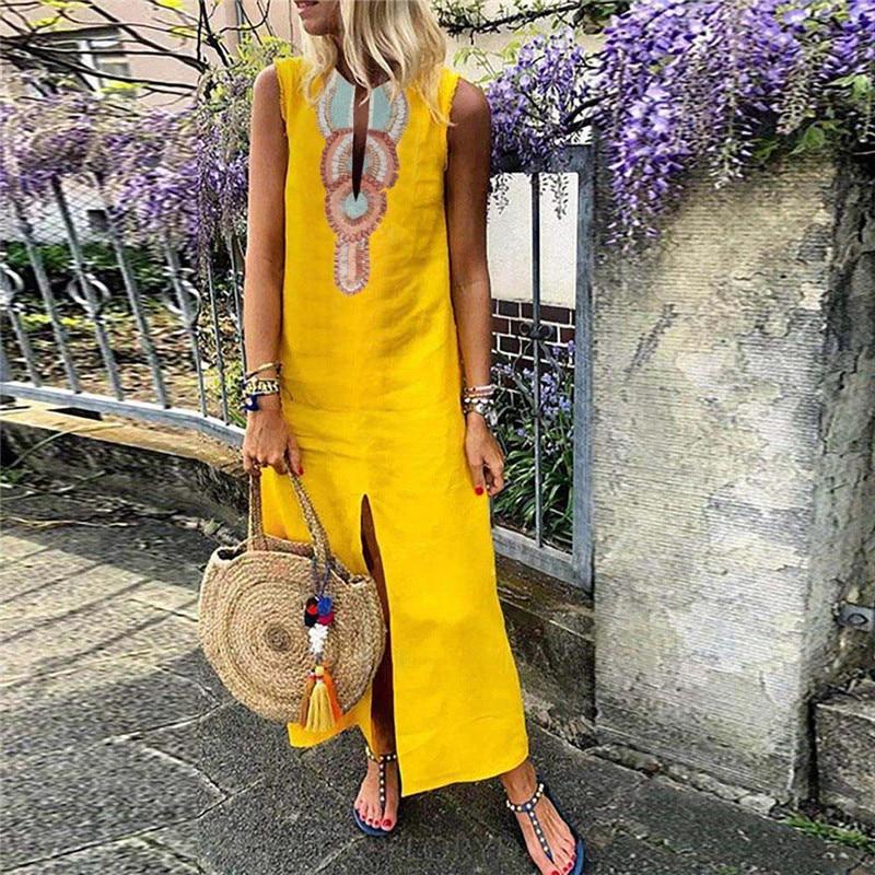 Summer Women Dress Female Printed Sleeveless V-neck Maxi Dress Casual Split Hem Baggy Kaftan Long Dress