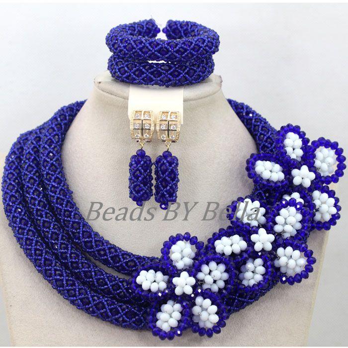 Großhandel Königsblau Kristall Handmade Nigerianische Mode Perlen Blumen Afrikanischen Schmuck Sets Halskette Kostenloser Versand ABK502 - 3