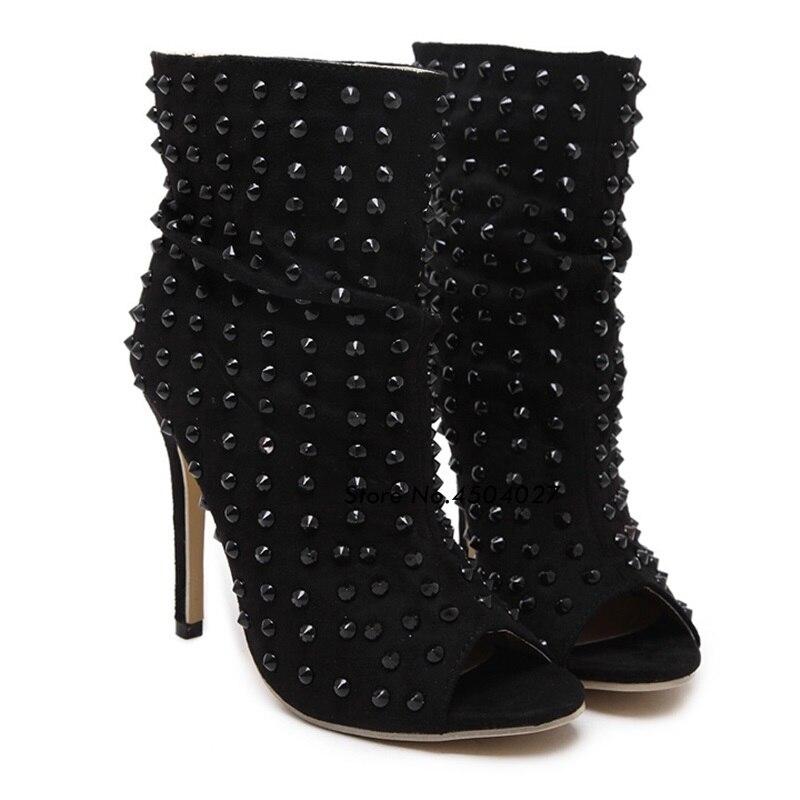 Toe Bottes Stilettos Noir Style Pompes À Hauts De Boot Chaussures Cloutés Talons Punk Peep Gladiateur Rivets Femmes Cheville q0xvvB