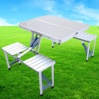 Multifunction Durable Portable Outdoor Barbecue BBQ Camping Aluminum Alloy Folding Table Outdoor Picnic Dining Table Desk Stool