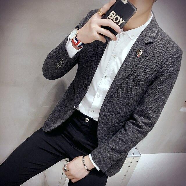 new arrival Men Suit Blazer Men Solid Color Fashionable Casual Blazer Masculino  Button Blazer Suits jacket