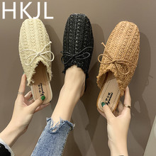 HKJL Fashion women 2019 new sweet bow-tie sequined silk flats for comfort with cup-toe and soft-soled slippers A238