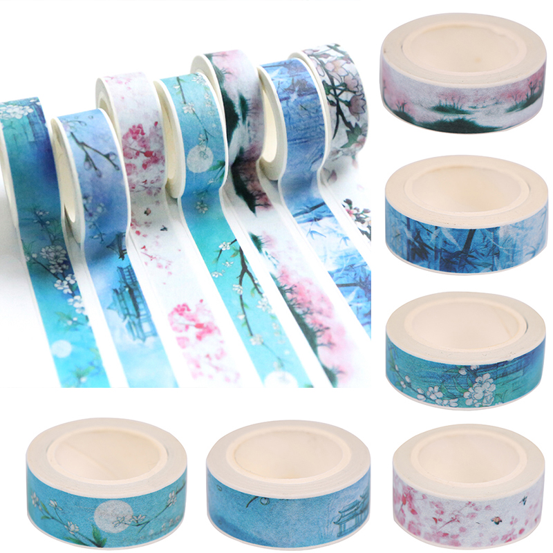1 Pcs Chinese Style Paper Masking Tape DIY Scrapbooking Diary Album Decor Adhesive Tape 15MM*7M Stationery Supplies