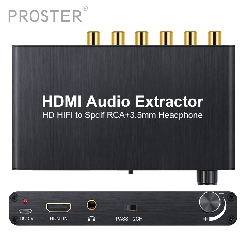 4K 3D With Volume Control Audio Extractor HDMI to HDMI With Optical Toslink Analog 5 1CH