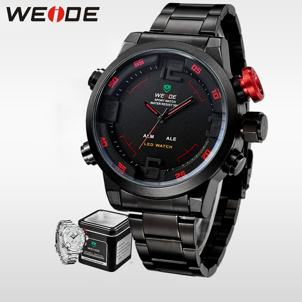 WEIDE Luxury  Brand Men LED Sport Watch Analog Digital Display  Waterproof Stainless Steel Quartz Movement Wristwatch Men Gifts weide irregular analog led digital watch men quartz dual movement stainless steel bracelet mens waterproof military watches