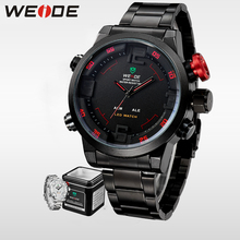 купить WEIDE Luxury  Brand Men LED Sport Watch Analog Digital Display  Waterproof Stainless Steel Quartz Movement Wristwatch Men Gifts онлайн