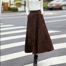 Autumn Winter Fashion Maxi Skirts Womens High Waist A-Line Woolen Skirt Vintage Retro Pleated Skirts Saias Femininas C1288