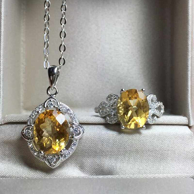 Natural Gemstone Jewelry Citrine White Gold Women 925 Silver Engagement Wedding Ring/Necklace Jewelry Sets Fine Jewelry YJS019