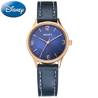 Authentic Guarantee Disney 11157 Genuine Leather Band Round Quartz Blue Pink White Black Beige Colors Mickey Fashion Watches New