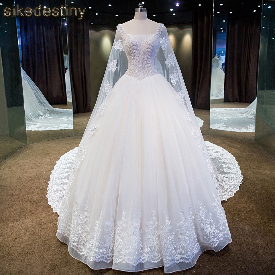 Real Photo Bridal Gown Strapless Lace Up Beaded Lace Long