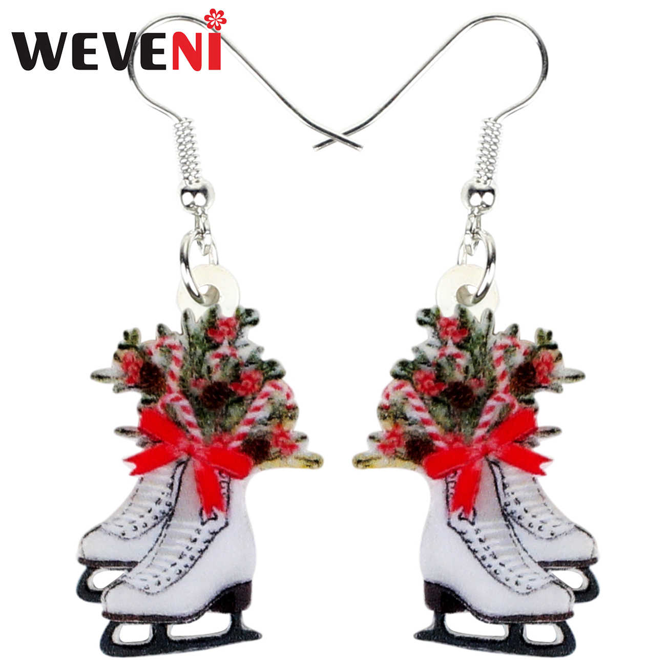 WEVENI Statement Acrylic Christmas Skates Gift Earrings Drop Dangle New Year Navidad Decoration Jewelry For Women Girls Charms