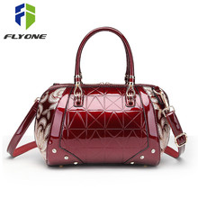 Luxury Sequin Embroidery Women Bag Patent Leather