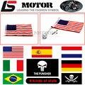 Motocycle CNC Aluminum Rear Mount Side Bagagem Vertical Pólo de Bandeira Americana Para Harley Touring Road King Glide & flht