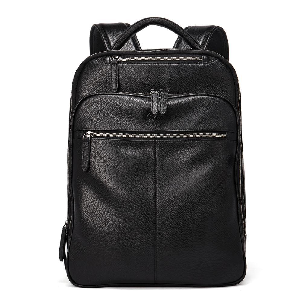 BOSTANTEN หนังแท้กระเป๋าเป้สะพายหลังสำหรับ Men Slim 15.6 นิ้วแล็ปท็อปขนาดใหญ่กระเป๋าเดินทางสีดำ-ใน กระเป๋าเป้ จาก สัมภาระและกระเป๋า บน   1