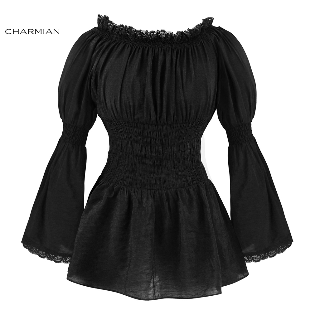Charmian Autumn Off Shoulder Top Vintage Gothic Victorian Blouse Lolita Long Flare Sleeve Lace Top Steampunk Women Clothing