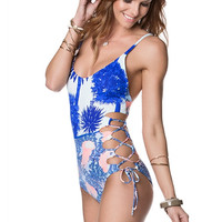 Side Lace Up One Piece Swimsuit Adult Women Brazilian Bandage Sexy Beachwear Monokini Retro Vintage Bathing