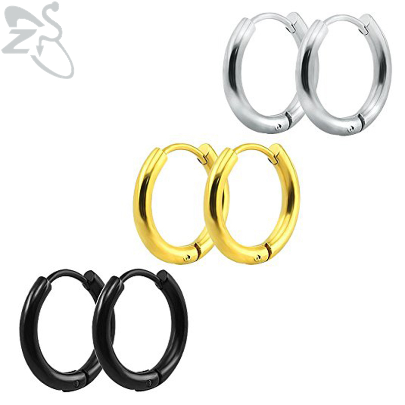 ZS Punk Gold Stainless Steel Hoop Earrings Huggie Simple Style GD Hoop Earring Circle Fashion Earrings for Women Man Jewelry