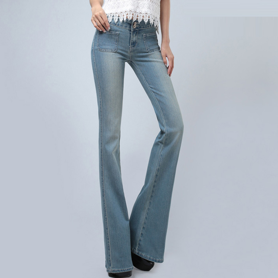 Pantalon Jeans Poches De Bleu Automne Casual Denim Blue Élastique denim  Printemps Femmes Mince Flare Blue ... 111a3baa7668
