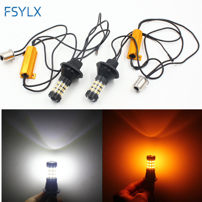 FSYLX Canbus 1156 BA15S T20 7440 3156 LED Bulb Front Turning Light fog DRL 60SMD 4014 Dual Color White Amber Error Free led lamp 2pcs car led headlight kit led bulb d33 h11 free canbus auto led lamps white headlamp with yellow light fog light for citroen c4