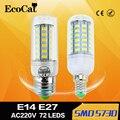 Супер СВЕТОДИОДНЫЕ Лампы E27 E14 220 В SMD 5730 СВЕТОДИОДНАЯ Лампа 24 36 48 56 69 светодиодов AC 230 В 5730SMD Мозоли СИД лампочки Люстры AC200-240V