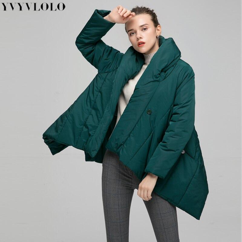 YVYVLOLO Winter Jacket Women Coat 2019 New Irregularity Loose Parka Women Down Winter Coat Fashion Cloak Warm Jacket Overcoat