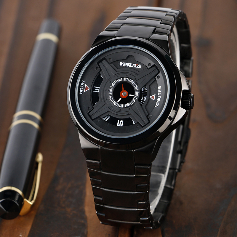 YISUYA Stylish Turntable Round Dial Casual Stainless Steel Waterproof Modern Men Male Analog Cool Military Quartz Wrist Watch free shipping xc3020 125pc68i new original and goods in stock