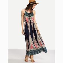 High Quaility Dresses 2017 Summer Bohemian Printed Sling Camis Maxi Dresses Beach Vacation Dresses vestido de festa