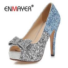 ENMAYER Women High heels Pumps Platform shoes Summer Peep Toe Summer Party Shoes Thin heels Bowtie Glitter Sequined Cloth CR631 стоимость