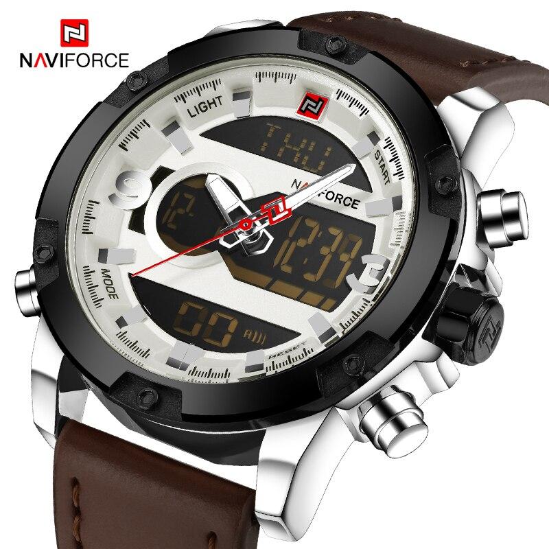 Naviforce negócios masculino militar esporte relógio masculino pulseira de couro quartzo relógio de pulso masculino à prova dwaterproof água relógios relogio masculino Relógios de quartzo     -