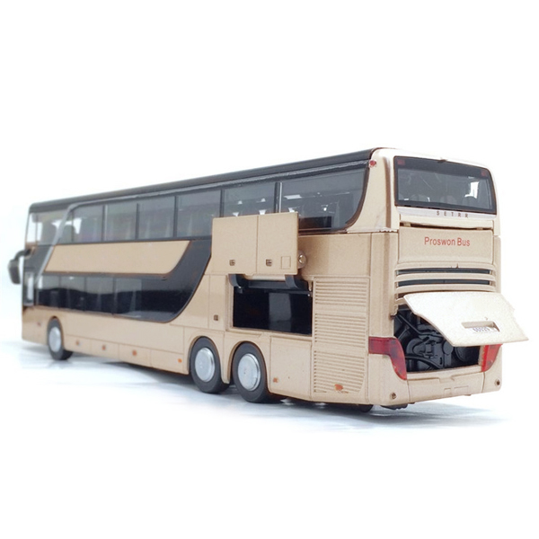 1:32 Alloy Double Layer Bus Pull Back Model Cute Night View Collectible Die Cast Toy AN88