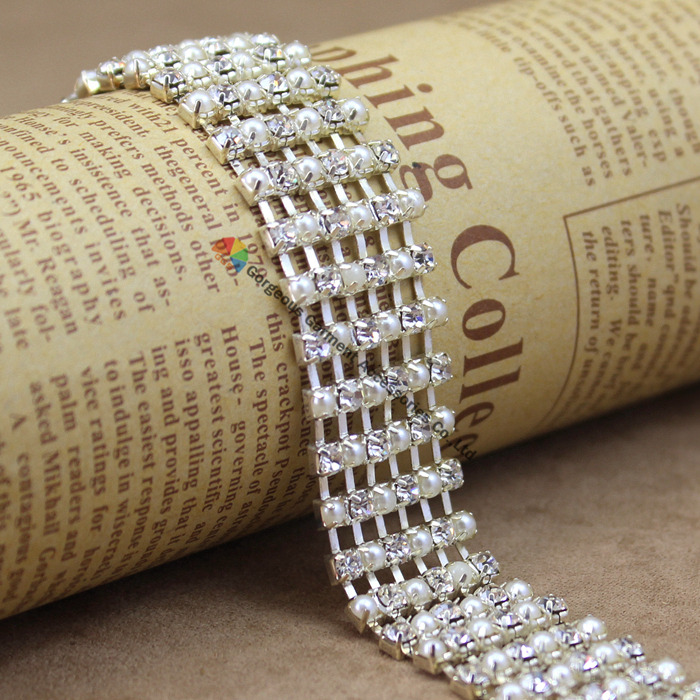 1 yard 2cm Pearl Alternated Crystal Rhinestone Chain Silver Costume  Applique Bride Trims DIY Browbands wedding dress decoration-in Rhinestones  from Home ... 1d40b22af897