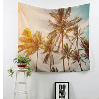 Top Rated Palm Leaf Printing Rectangle Tapestry Customized 100 Polyester Not Fade Reactive Print Hanging Throw